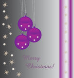 Purple baubles background with text Royalty Free Stock Photo