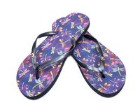 Purple Beach Day Flip Flops with dragonfly pattern isolated on white. Background stock image