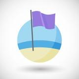 Purple beach flag flat icon royalty free illustration