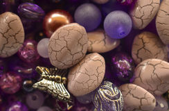 Purple beads mix Stock Image