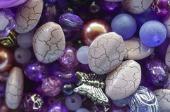 Purple beads mix Stock Photo