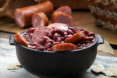 Purple bean feijoada. With pepperoni royalty free stock image