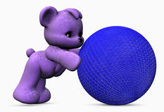 Purple bear with blue ball. Three dimensional illustration of purple bear pushing or playing with large blue ball; isolated on white background Royalty Free Stock Photos