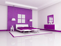 Purple bedroom Stock Image