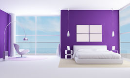 Purple bedroom Stock Photo