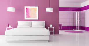 Purple bedroom with cabin shower royalty free stock image