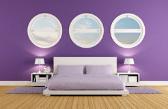 Purple bedroom Stock Photos