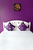 Purple Bedroom in a modern house Royalty Free Stock Image