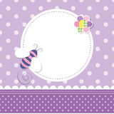 Purple bee baby girl greeting card Stock Photos