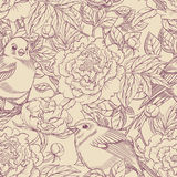 Purple and beige birds and peonies Royalty Free Stock Photo
