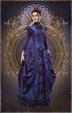 Purple Belle Epoque Gown, 3d CG Stock Photo