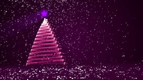 Purple big Christmas tree from glow shiny particles on the left side of screen. Winter theme for Xmas or New Year. Big Christmas tree from glow shiny particles stock video footage