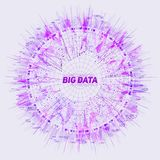 Purple Big data circular visualization. Futuristic infographic. Information aesthetic design. Visual data complexity. Complex data threads graphic. Social Royalty Free Stock Photography