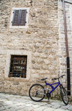 Purple Bike in Kotor Stock Image