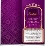 Purple billboard invitation Stock Photos