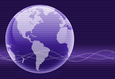 Purple Binary Wave Globe. Shiny purple globe created in Photoshop with scan lines applied over image. Wavy binary lines in foreground with soft gradient for a royalty free illustration