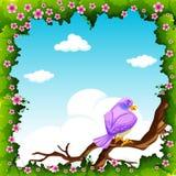 Purple bird on the branch. Illustration royalty free illustration