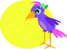 Purple Bird with Message Circle Stock Photography