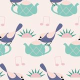 Purple birds and green tea pots in a seamless pattern design
