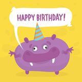 Purple birthday monster Royalty Free Stock Photography