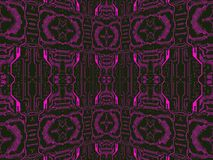 Purple on black circuit board.Symmetrical technology background. Royalty Free Stock Images
