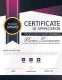 Purple black Elegance horizontal certificate with Vector illustration ,white frame certificate template with clean and modern Royalty Free Stock Photos