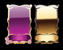 Purple, Black And Gold Ornate Banners. Stock Photo