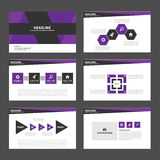 Purple and Black presentation template Infographic elements flat design set for brochure flyer leaflet marketing. Blue and Black presentation template Royalty Free Stock Images