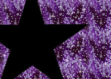Purple & Black Star Background. Falling purple stars over a black background. Topped with a larger black star for your photos, text or messages stock illustration