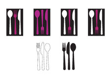 Cutlery. Purple, black and white cutlery on the table royalty free illustration