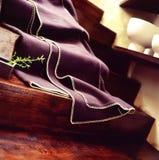 Purple blanket on stairway Royalty Free Stock Photos