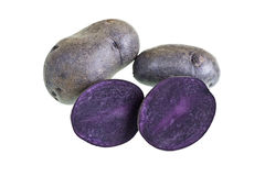 Purple Bliss Potatoes. Are a new variety of potatoes which show a deep purple color throughout the skin and flesh Stock Photography