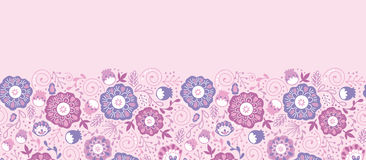 Purple Blossom Flowers Horizontal Seamless Pattern Royalty Free Stock Photography