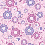 Purple Blossom Flowers Seamless Pattern Background Stock Photos