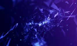 Purple-blue background abstract triangles. Purple-blue background with abstract triangles. The depth of field. Concept form image. Virtual space. 3D render. 3D royalty free illustration