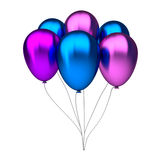 Purple and blue birthday balloons Royalty Free Stock Image