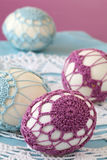 Purple and blue crochet Easter eggs Stock Photo