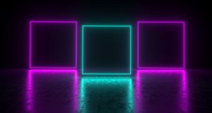 Purple And Blue Empty Rectangles On Concrete Reflective Surface. 3D Rendering Illustration Stock Photos