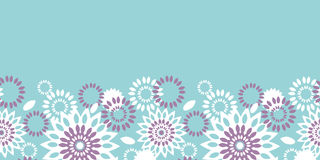 Purple and blue floral abstract horizontal seamless pattern background stock illustration