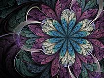 Purple and blue fractal flower royalty free illustration