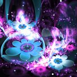 Purple and blue fractal flowers. Digital artwork for creative graphic design Royalty Free Stock Images