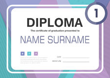 Purple Blue green black A4 Diploma certificate background template layout design. Vector Royalty Free Stock Photo