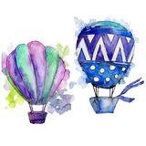 Purple and blue hot air balloons background fly air transport illustration. Isolated illustration element Royalty Free Stock Photos