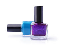 Purple and blue nail polishes Stock Photo