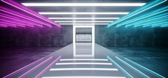 Purple Blue Neon Glowing Tubes Futuristic Modern Empty Sci Fi Gr. Unge Concrete Reflective Room With White Lights And Stage Arena Background Spaceship Glowing stock illustration