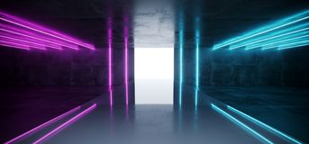 Purple Blue Neon Glowing Tubes Futuristic Modern Empty Sci Fi Gr. Unge Concrete Reflective Room With White Lights And Stage Arena Background Spaceship Glowing royalty free illustration