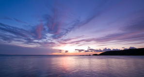Purple blue sea sunset Royalty Free Stock Images