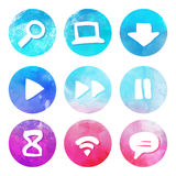 Purple and blue set of round watercolor icons Royalty Free Stock Photography