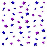 Purple and blue stars on a white background, seamless endless pattern. royalty free illustration