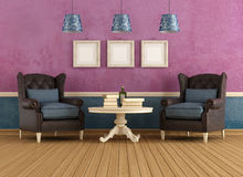 Purple and blue vintage living room Stock Images